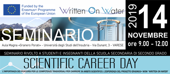 "Progetto Erasmus+ ""WOW – Written On Water"" – Seminario del 14 novembre 2019"